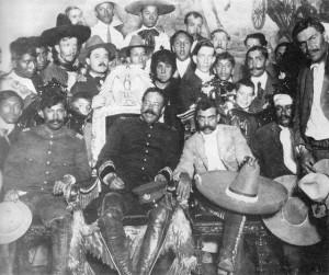 Emiliano Zapata e Pancho Villa  no  Palácio Nacional, Cidade do México, 1914