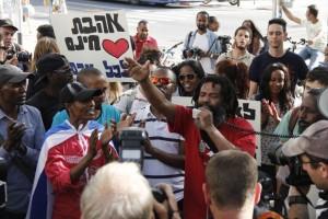 Protesto de judeus etíopes,Tel Aviv, 18-3-2015-Foto Judah Ari Gross, Times of Israel