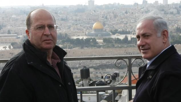 Netaniahu (à dir.) e Moshé Yaalon (Foto Kobi Gideon, Flash 90)