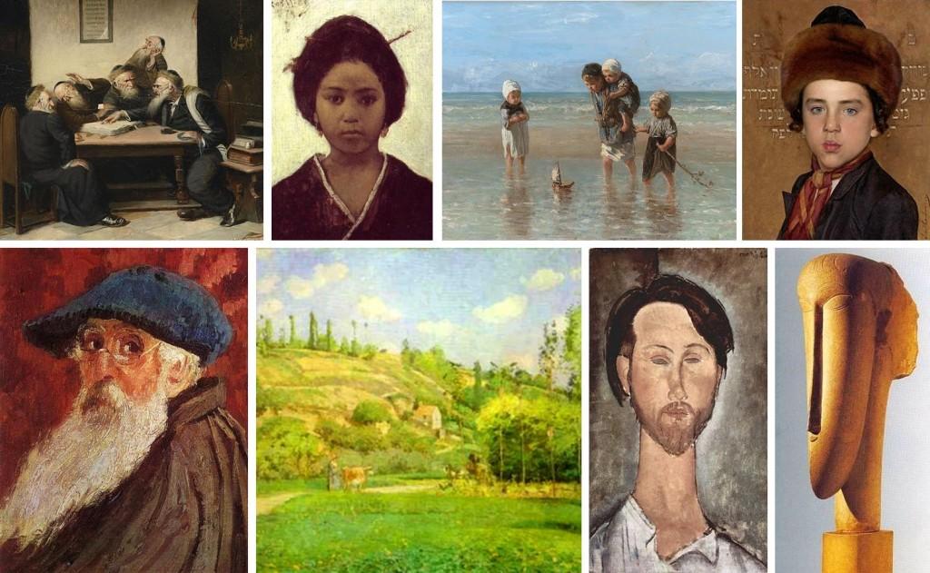 A experiência judaica com a arte moderna. No alto, obras de Carl Schleicher (1), Maurycy Gottlieb (2), Jozef Israels (3), Isidor Kaufmann (4). Embaixo, Camille Pissarro (5 e 6) e Amedeo Modigliani (7 e 8)
