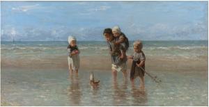 Israëls, Crianças no mar, 1872