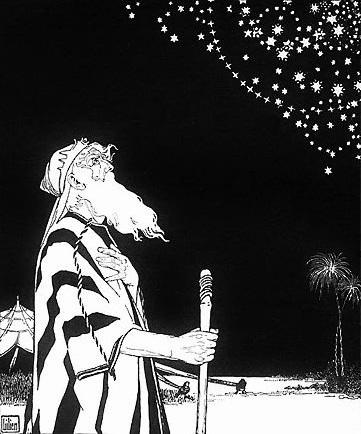 Ephraim Moses Lilien, Abraão contempla as estrelas, 1908